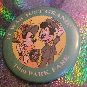 Vtg 80s Disney Mickey Minnie 1900 Park Fare Pin